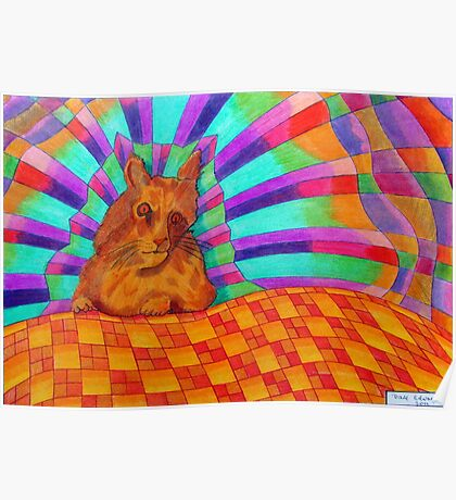 368 - RAINBOW CAT DESIGN - DAVE EDWARDS - COLOURED PENCILS - 2012 Poster