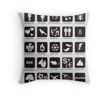 Phobia list Throw Pillow