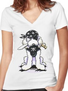 Poodle Pirate Women's Fitted V-Neck T-Shirt