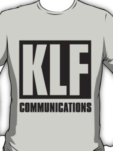 KLF Communications (black bg, white letters) T-Shirt