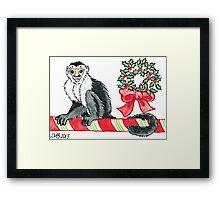 2013 Holiday ATC 18 - Holiday Monkey Framed Print