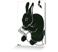 2013 Holiday ATC 15 - Rabbit Looking at the Naughty List Greeting Card
