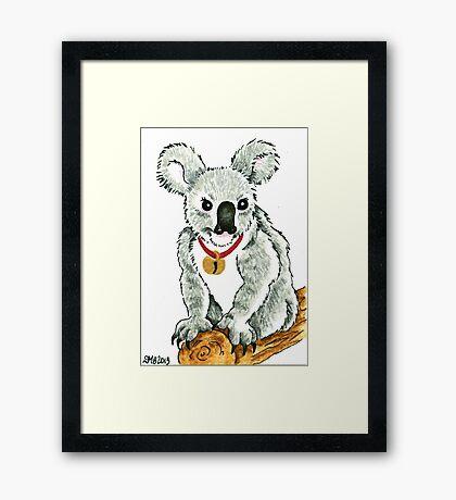 2013 Holiday ATC 13 - Koala with Sleigh Bell Framed Print