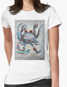 Blue Crab Dancing Womens Fitted T-Shirt
