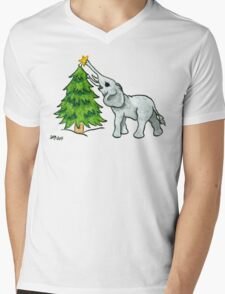 2013 Holiday ATC 11 - Christmas Tree and Elephant Mens V-Neck T-Shirt