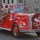 Santa on a Fire Truck by GalleryThree