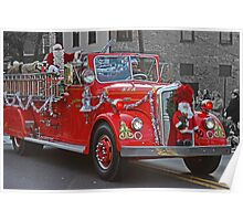 Santa on a Fire Truck Poster