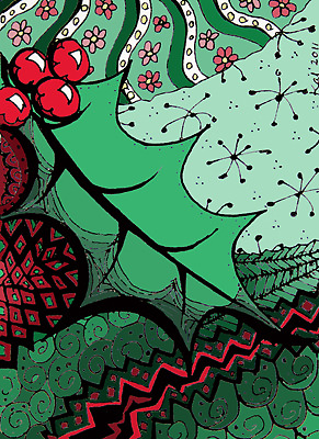 Xmas series- Holly Doodle coloured by KalonaCreations
