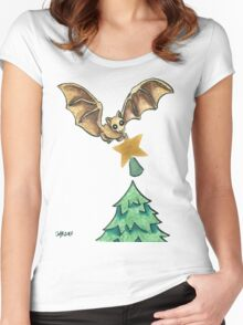2013 Holiday ATC 8 - Bat and Christmas Star Women's Fitted Scoop T-Shirt