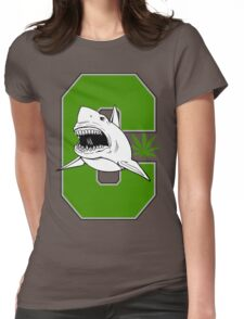 Great White Shark Marijuana Womens Fitted T-Shirt