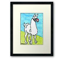 2013 Holiday ATC 6 - Llama Rudolph Framed Print