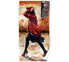 Lady in red /28 - Walking in the wind Poster