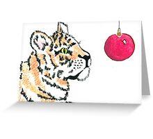 2013 Holiday ATC 3 - Tiger Cub Looking at Ornament Greeting Card