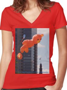 Flying Bear Watches Over City of Milwaukee Women's Fitted V-Neck T-Shirt