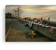 April 2002 Sunrise At Eagle Rock Lookout - Home made Memorials to 9-11 Photo 2 Canvas Print