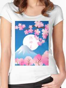 Mt Fuji Cherry Blossoms Spring Japan Night Sakura Women's Fitted Scoop T-Shirt