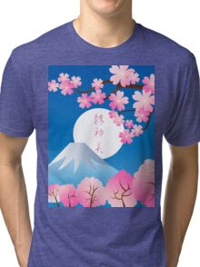 Mt Fuji Cherry Blossoms Spring Japan Night Sakura Tri-blend T-Shirt