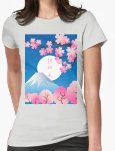 Mt Fuji Cherry Blossoms Spring Japan Night Sakura Womens Fitted T-Shirt