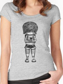 Smile Baby Photographer black and white Women's Fitted Scoop T-Shirt