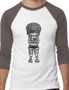 Smile Baby Photographer black and white Men's Baseball ¾ T-Shirt