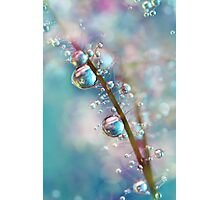 Rainbow Blue Smokey Drops Photographic Print