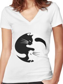 Ying yang cat (white) Women's Fitted V-Neck T-Shirt