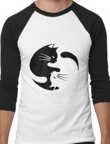 Ying yang cat (white) Men's Baseball ¾ T-Shirt