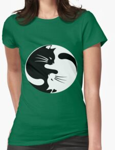 Ying yang cat (white) Womens Fitted T-Shirt