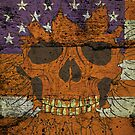 American Patriotic Skull On Gunge Wall Flag iPhone 5 Case / iPhone 4 Case  by CroDesign