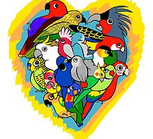 I heart parrots cute cartoon by lifewithbirds