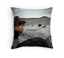 Photographing buffalo South Dakota Throw Pillow