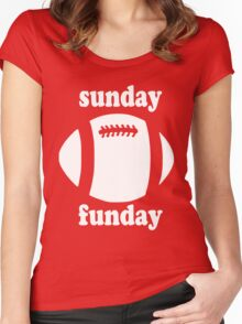 Cute Sunday Funday white design Women's Fitted Scoop T-Shirt