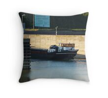 barge on her way to Amsterdam Throw Pillow