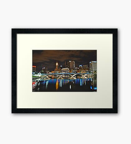 Columbus skyline at night - Columbus, Ohio Framed Print