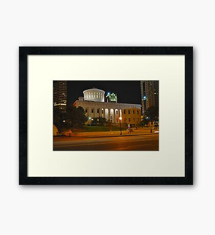 State Capitol Building at night - Columbus, Ohio Framed Print