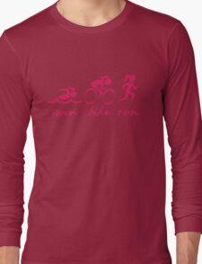 Swim Bike Run Girl (Pink) Long Sleeve T-Shirt