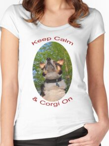 Keep Calm & Corgi On Women's Fitted Scoop T-Shirt