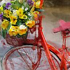 Red bicycle with flowers by Cebas