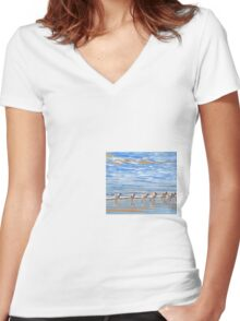 We're following the leader... Sandpipers in Goleta Beach California Women's Fitted V-Neck T-Shirt