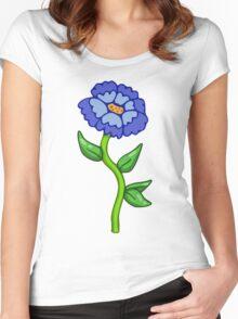 Single Blue Flower  Women's Fitted Scoop T-Shirt