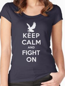 Keep Calm And Fight On 9/11 Tribute Memorial American Patriotic T Shirt Women's Fitted Scoop T-Shirt