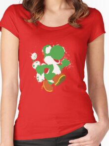 Green Yoshi Splatter Design Women's Fitted Scoop T-Shirt