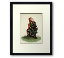 Kiliel: Tauriel and Kili from the Hobbit on a Tree Stump Framed Print