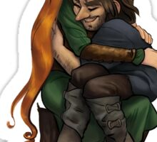 Kiliel: Tauriel and Kili from the Hobbit on a Tree Stump Sticker