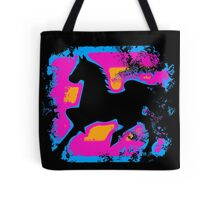 Colorful Prancing High-stepping Horse Silhouette Tote Bag