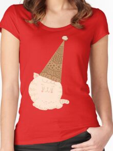 Holiday Ice Cream Cat Women's Fitted Scoop T-Shirt