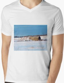 Barn gets a little glow from the Sun as it sits, waiting to be torn apart. Mens V-Neck T-Shirt