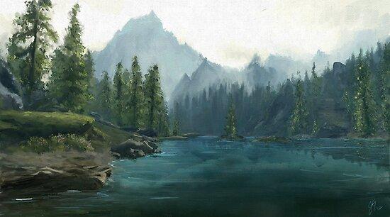 Alpine lake by Ylaya