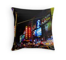 Bright Lights and Colors Of 42nd Street at Night Throw Pillow