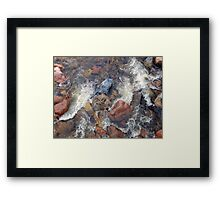 River rocks and rushing water Framed Print